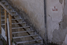 A staircase on a Superior property that records show is owned by Glenn A. Wilt. It is located on Porphyry Street.