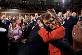 President Barack Obama and Rep. Gabrielle Giffords, D-Tucson, share a hug before the State of the Union speech Tuesday, marking Giffords' second visit to the Capitol since the Jan. 8, 2011, shooting that left her severely wounded. She resigned her seat Wednesday.