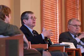 Northern Arizona University President John Haeger addresses a panel looking at how colleges and universities can promote sustainability.
