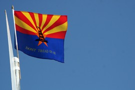Arizona's independent streak is reflected in this flag, flown by demonstrators outside the Supreme Court when it was considering the state's SB 1070 immigration enforcement law in April.