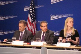Assistant Education Secretary Eduardo Ochoa, Western Association of Schools and Colleges President Ralph Wolff and the New America Foundation's Amy Laitinen, from left, endorse