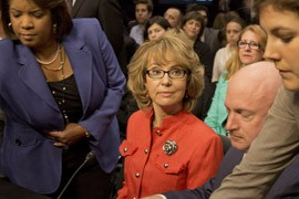 Former Rep. Gabrielle Giffords was severely injured in a 2011 shooting spree in Tucson that killed six people and wounded 12 others. Giffords made a surprise appearance with her husband, Mark Kelly, at a Senate Judiciary Committee hearing considering gun-violence measures.