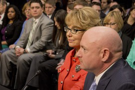 Shooting victim Gabrielle Giffords, a former Arizona congresswoman, urged members of Congress to