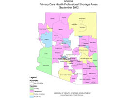See a map of Arizona that have shortages of physicians.