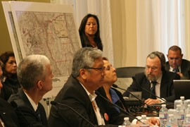 San Carlos Apache Chairman Terry Rambler, center, testified that Resolution Copper's proposed block-cave method of mining will lead to an eventual collapse of the site, leaving a hole that would alter the area's environment.