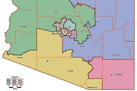 The Arizona Independent Redistricting Commission, approved in 2000, was called on to redraw district boundaries in 2002 and again in 2012, when it approved the current congressional district map above.