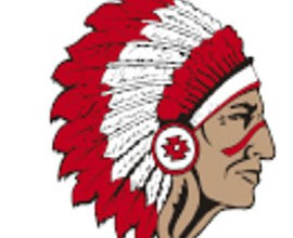 The logo of the St. Johns High School Redskins, one of two high schools in the state, with Red Mesa High School, with that nickname for their athletic teams. While some are offended by the name, officials at both schools defend it.