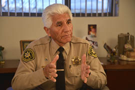 Santa Cruz County Sheriff Tony Estrada in his office in Nogales, Ariz., talking about border security.