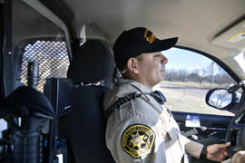 Santa Cruz County Sherriff's Deputy Omar Rodriquez patrols the U.S.-Mexico border outside of Nogales, Ariz.