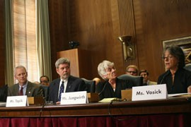 Witnesses at the Senate Committee on Energy and Natural Resources listen to Diane Vosick, right, who testified that more aggressive forest management is needed to stem wildfire. Most of the other witnesses made similar arguments.