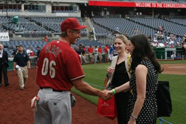 Sen. Jeff Flake, R-Ariz. on the field at Nationals Park before the annual Congressional Baseball Game for Charity. The game raised more than $300.000 for D.C.-area charities.