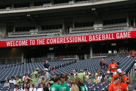 The congressional baseball game pits Democrats against Republicans to raise funds for charities. The game was first played in 1909 and has been played annually since 1962.