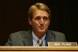 Sen. Jeff Flake, R-Ariz., a member of the Senate Energy and Natural Resources Subcommittee on Water and Power, questioned witnesses about how best to conserve water and protect the Colorado River.