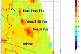 NASA's Ozone Monitoring Instrument image of nitrogen dioxide (NO2) levels on June 29, as three Arizona wildfires burned. High NO2 levels, in molecules per square centimeter, mean high combustion. Here, the Yarnell Hill fire was burning hottest.