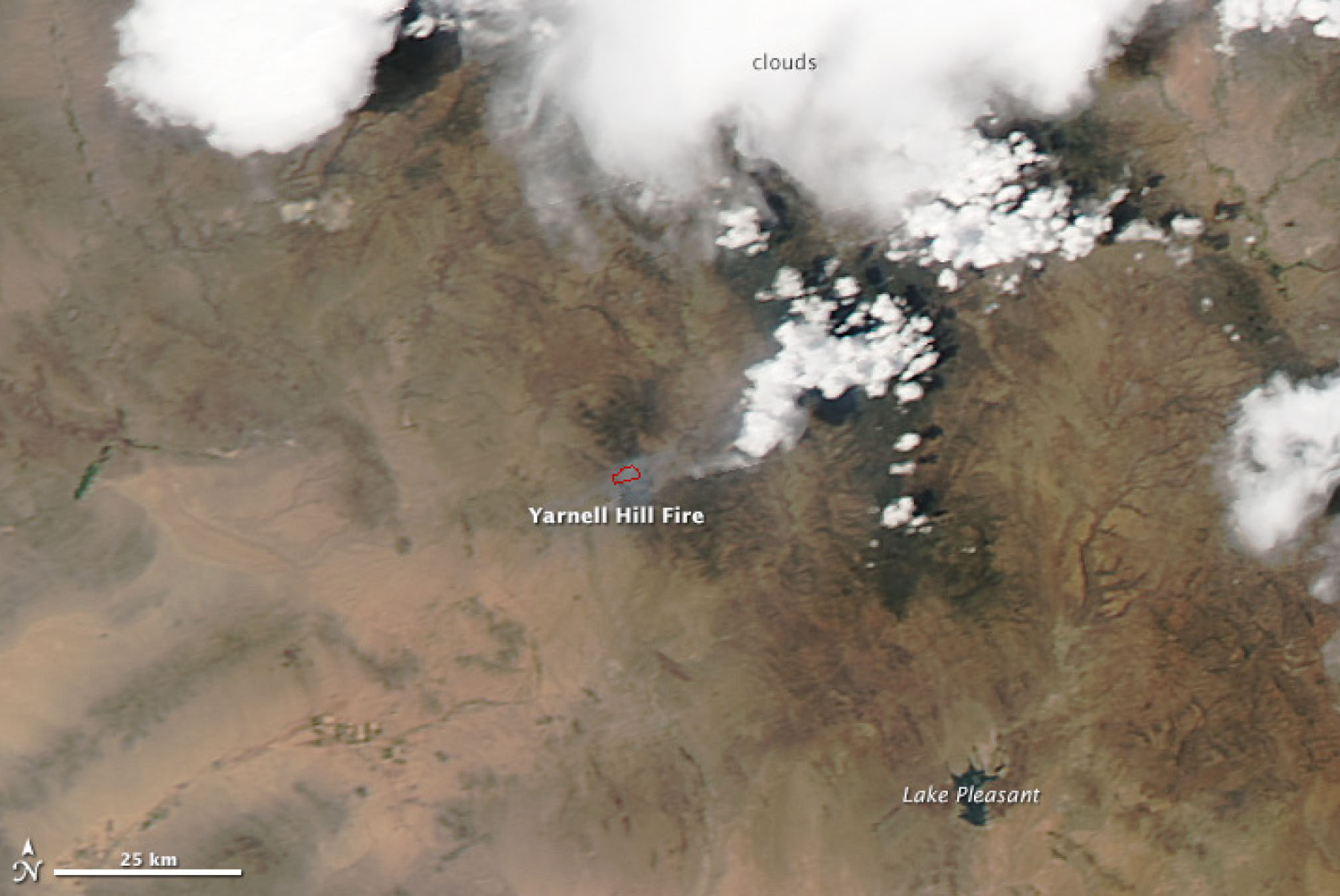 A Moderate Resolution Imaging Spectroradiometer (MODIS) satellite image of the Yarnell Hill fire on July 1, one day after the blaze killed 19 hotshot firefighters. Red outlines are hot spots associated with fire.