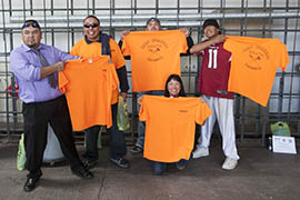 Participants in the Navajo Gladiator pilot training program celebrate graduating from the five-weeks of hands-on and classroom instruction preparing them for apprenticeships in ironworking.