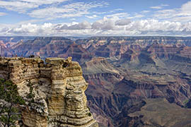 Summer clouds form over Mather Point on the Grand Canyon's South Rim. The point is one of the first and most popular stops for many visitors to the Grand Canyon National Park.