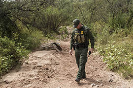 A Border Patrol agent on patrol along the Southwest border near Nogales in this file photo.