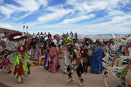 Ceremonial dancers are one of the attractions for visitors to Grand Canyon West. That part of the canyon is controlled by the Hualapai tribe, which means it can stay open despite the federal government shutdown that closed Grand Canyon National Park.