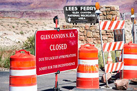Visitors to federally owned national parks have been greeted by signs like this, which has hit tourism businesses hard in the past 10 days.