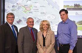 From left to right: SCF Arizona Executive Vice President Rick DeGraw, SCF President Donald Smith, Gov. Jan Brewer and Rep. Bob Robson, R-Chandler, author of the legislation that led to the law approving the memorial.