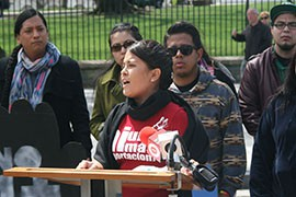 Natally Cruz, who works at the Puente Movement in Phoenix, speaks outside the White House of the difficulties faced by families separeted by deportation.