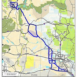 Corridors being studied for the proposed Interstate 11 linking Phoenix and Las Vegas, as of February when this dratf report was prepared. (Map courtesy I-11study.com)