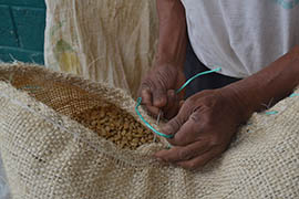 Mariano Perez Cura sews shut a sack of processed organic coffee harvested from small farms in Chiapas, Mexico. The coffee will be exported to the U.S., Europe or Japan.