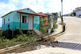 Houses and sidewalks are beginning to be overtaken by weeds in the Sustainable Rural City of Santiago el Pinar in Chiapas, Mexico.