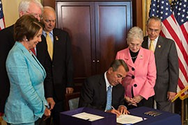 House Speaker John Boehner at a ceremony to mark passage of the Workforce Innovation and Opportunity Act, to update workforce development programs. Officials in Arizona's Rehabilitation Services Administration hope the act will expand services to help people with disabilities find employment.