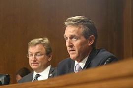 Sen. Jeff Flake, R-Ariz., at the Senate Energy and Natural Resources Committee hearing on fire preparedness. Flake and Sen. John McCain, R-Ariz., are co-sponsors of a measure calling for fully funding the U.S. Forest Service and Interior Department's budget for wildfires.