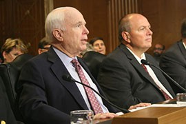 Sen. John McCain, R-Ariz., left, told the Senate Energy and Natural Resources Committee that, next to water, wildfires are a dominant issue in Western states and wildfire funding needs to be addressed. Testifying with him is Navajo County Supervisor David Tenney.