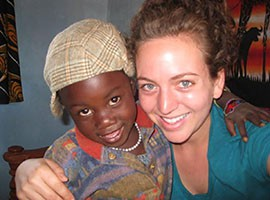 Phoenix native Kate Glanz, with a photo from her Peace Corps service in Tanzania.