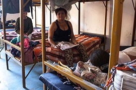 Up to 20 women and children are able to stay at the House of Mercy shelter, which is set up to handle many more male migrants. Accommodations are mostly bunk beds with thin foam mattresses and a single blanket.