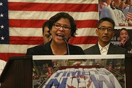 Rocio Saenz of Mi Familia Vota speaks at the release of a