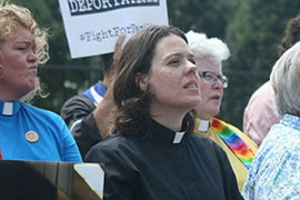The Rev. Susan Frederick-Gray, of the Unitarian Universalist Congregation of Phoenix, at a White House protest against deportations of immigrants here illegally. Frederick-Gray was later arrested during the rally.