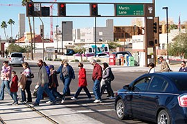 Cars and pedestrians are a sometimes deadly mix, and a new study says the Phoenix and Tucson metro areas had pedestiran death rates from 2008 to 2012 that were among the 25 highest in the country.