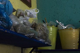 Bundles of herbs waiting to be processed in to traditional medicines at the