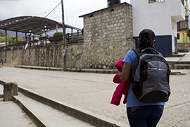Maria Lopez Mendoza, a health promoter for Marie Stopes International, walks through Bochil, one of the villages in Chiapas where she works with midwives to get contraceptives and health information in the hands of local women.