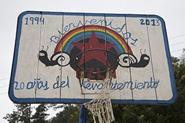 A basketball hoop in Caracol Morelia commemorates 20 years of Zapatista endurance. In 2013, the Zapatistas opened their communities to foreign visitors, inviting them in to learn about their way of life.