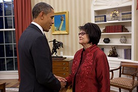 President Barack Obama in the Oval Office in 2010 with Elouise Cobell, the lead plaintiff in class-action lawsuit against the federal government for mismanagement of Indian trusts. It was settled in 2012 for $3.4 billion.