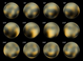 Images of Pluto taken by the Hubble Space Telescope in 2010. The New Horizons probe is scheduled to do a flyby of the dwarf planet next summer.