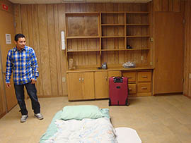 The room in which Luis Lopez-Acabal is staying at University Presbyterian Church in Tempe.