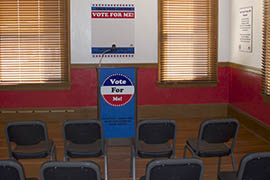 """Visitors to the Arizona Capitol Museum's exhibit """"Your Vote, Your Voice, Your Government, Your Choice"""" can make and record their own campaign speeches."""