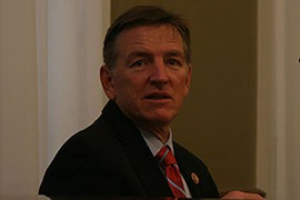 Rep. Paul Gosar, R-Prescott, before a House committee hearing in which he grilled the director of the Fish and Wildlife Service over its decision to halt rainbow trout production at a Mohave County hatchery.