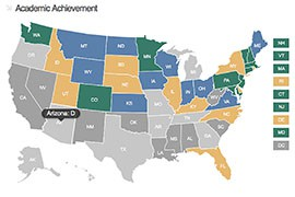 Arizona was one of 20 states, with the District of Columbia, to get a grade of D or worse for their students' academic achievement on a national report card.
