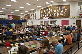 Students fill the lunchroom of Hermosa Vista Elementary School, where as of October 2013 27 percent of children qualified for free or reduced-price lunch.