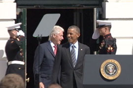 AmeriCorps was started by former President Bill Clinton, left, and expanded by former President George W. Bush and President Barack Obama, right.