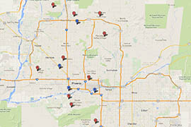 Locations for sand and sandbag pickup in the Phoenix area.