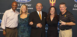 From left: Ray Anderson, ASU vice president of athletics and athletic director; Buffie Anderson; Steve Butterfield, vice chairman of the Momentum Campaign; Penni Graham; and Todd Graham, ASU football coach.
